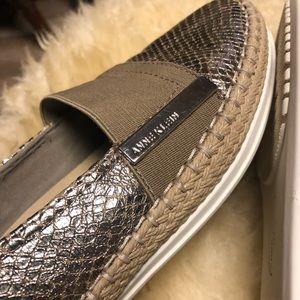 ANNE KLEIN 'Gold Metallic Snakeskin' Loafers.